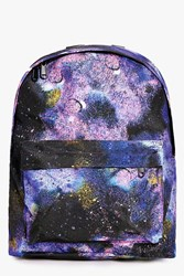 Boohoo Galaxy Print Backpack Multi