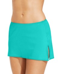 Coco Reef Solid Slit Swim Skirt Swimsuit Larimar Aqua