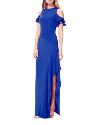 Theia Cold Shoulder Ruffled Gown Lapis
