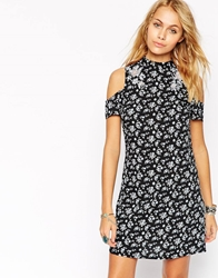 Asos High Neck Shift Dress In Retro Floral Print