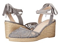 Adrianna Papell Penny Pewter Barcelona Lace Women's Wedge Shoes Gray