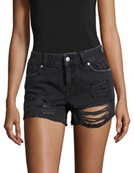 Vigoss Distressed And Frayed Cotton Shorts Black