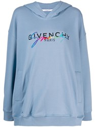 Givenchy Contrast Logo Hoodie Blue