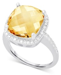 Victoria Townsend Citrine 6 Ct. T.W. And White Diamond 1 10 Ct. T.W. Ring In Sterling Silver