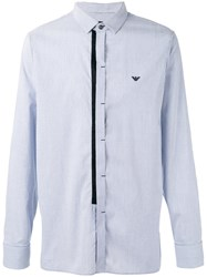 Emporio Armani Concealed Fastening Striped Shirt Blue