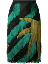 Marco De Vincenzo Striped Fringed Straight Skirt Women Silk Polyester Viscose 44 Black