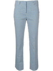 Incotex Houndstooth Print Trousers Blue