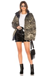 Kendall Kylie Nylon Reversible Puffer Jacket Green