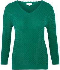 Cc V Neck Cable Jumper Green