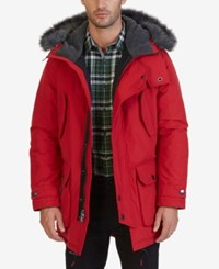 Nautica Men's Faux Fur Quilted Parka Nautica Red