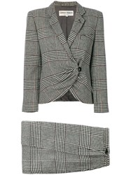 Giorgio Armani Vintage Check Skirt Suit Grey