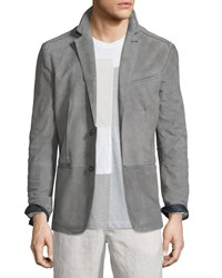 John Varvatos Suede Two Button Blazer Smoke Grey Men's