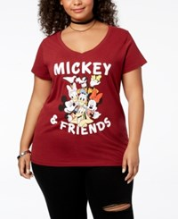 Disney Plus Size Mickey Mouse And Friends T Shirt Cardinal Red