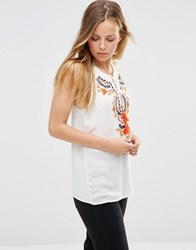 Only Sleeveless Embroidered Folk Top Cloud Dancer White