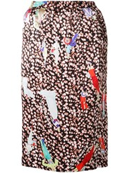 Theatre Products Multiple Prints Straight Skirt Black