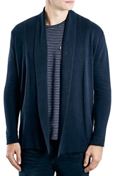 Topman 'Smart' Open Front Cardigan Dark Blue