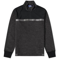 Junya Watanabe Man Reflective Taped Half Zip Sweat Black