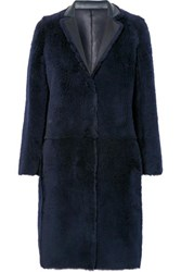Karl Donoghue Reversible Shearling Coat Navy