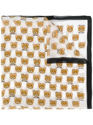 Moschino Teddy Bear Print Scarf White