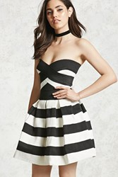Forever 21 Striped A Line Mini Dress Black White