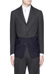 Wooster Lardini Pleated Hem Wool Herringbone Soft Blazer Multi Colour