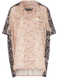 Y Project Oversized Two Tone Paisley Print Silk And Cotton Shirt Neutrals