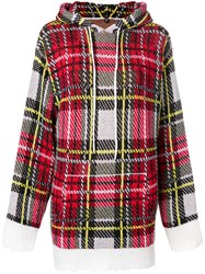 R 13 R13 Cashmere Checked Hooded Sweater Red