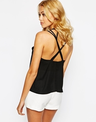 Love Low Back Top With Strap Detail Black