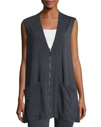 Max Studio Sleeveless Terry Zip Front Cardigan Charcoal N