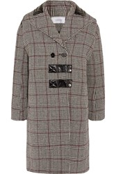 Carven Patent Leather Trimmed Checked Wool Blend Coat Gray