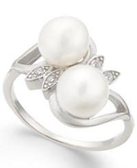 Macy's Cultured Freshwater Pearl 7Mm And Cubic Zirconia Ring In Sterling Silver
