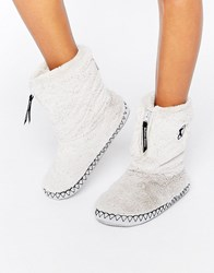 Bedroom Athletics Marilyn Short Faux Fur Slipper Boot Trace Grey