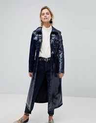 Warehouse Patent Trench Coat Blue