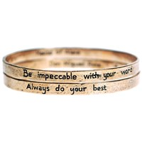House Of Alaia The Four Agreements Reminder Bangle Set Antiqued Bronze