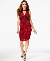 Thalia Sodi Animal Print Halter Cutout Dress Only At Macy's Crimson Red