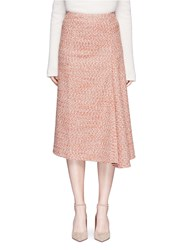 Victoria Beckham Marled Boucle Draped Midi Skirt Orange Multi Colour