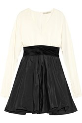 Halston Heritage Twill And Taffeta Dress Black