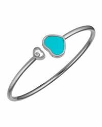 Chopard Happy Hearts 18K White Gold Turquoise And Diamond Bangle Bracelet