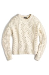 J.Crew Women's Hawthorne Cable Pom Pom Sweater Natural