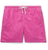 Anderson And Sheppard Slim Fit Mid Length Printed Swim Shorts Pink