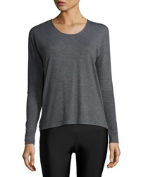 Onzie Drapey V Back Long Sleeve Athletic Tee Gray