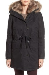 French Connection Women's Hooded Parka With Faux Fur Trim