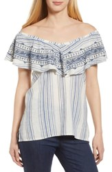 Wit And Wisdom Off The Shoulder Stripe Ruffle Linen Blend Top Blue