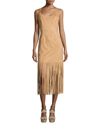 Vakko Faux Suede Fringe Dress Camel