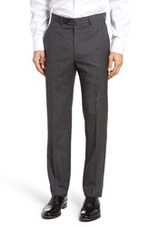 Santorelli Men's Big And Tall Flat Front Plaid Wool Trousers Grey
