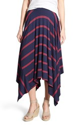 Women's Halogen Stretch Knit Handkerchief Hem Maxi Skirt Navy Red Triple Stripe