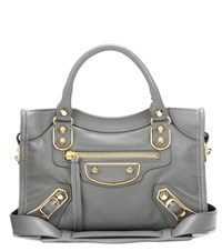 Balenciaga Classic Metallic Edge City Mini Leather Tote Grey