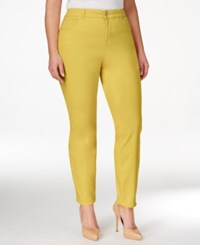 Charter Club Plus Size Tummy Control Pink Cloud Wash Ankle Jeans Only At Macy's Lemon Tart