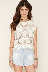Forever 21 Floral Crochet Knit Top