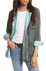 Free People Women's Double Cloth Military Jacket Dark Grey
